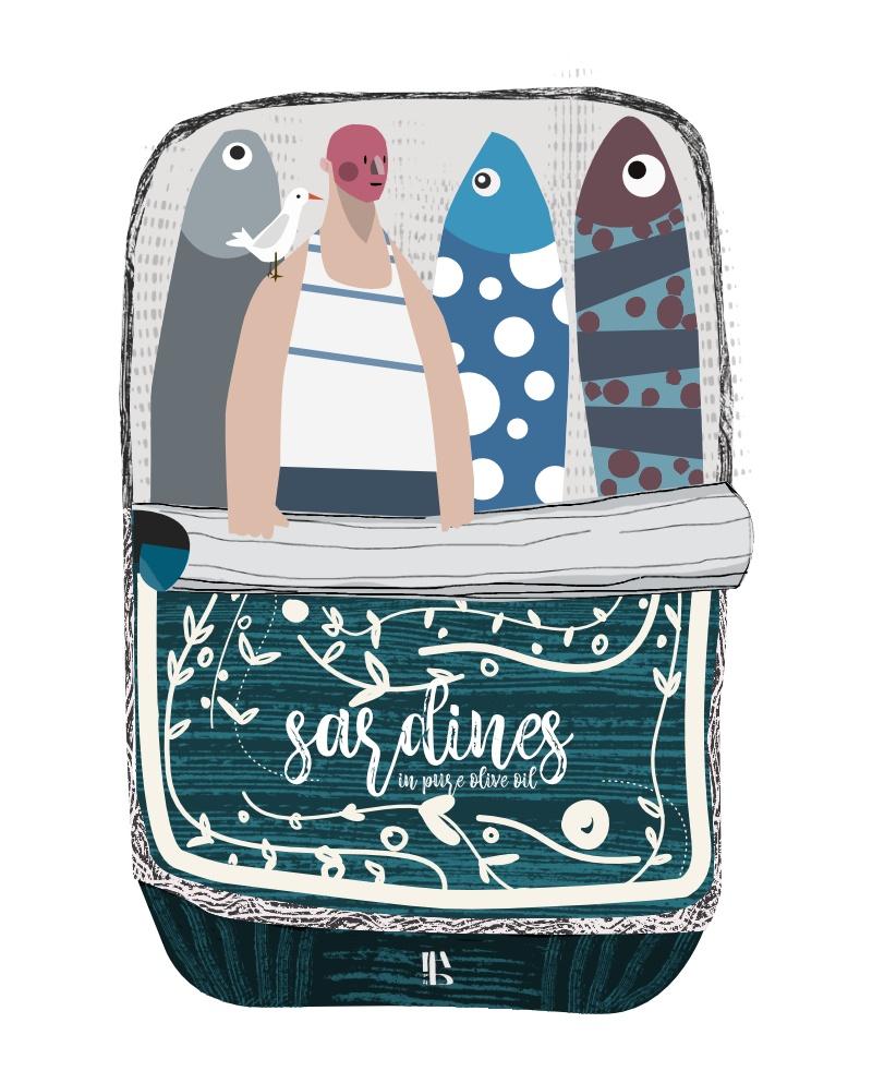 scatola di sardine aperte con all'interno tre piccoli pesci e un uomo