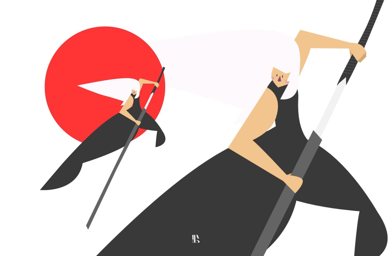 uomo con spada su fondo rosso